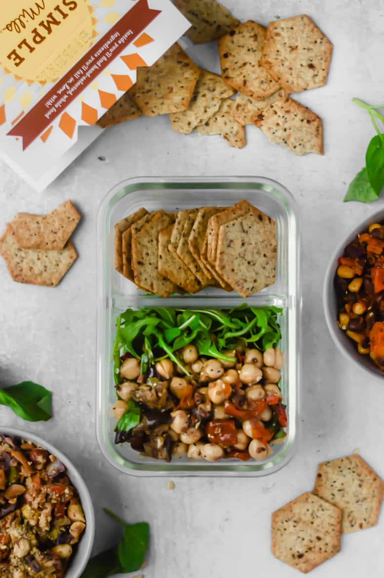 Three Wholesome & Adult Style Lunchables with Simple Mills Crackers! Easy ideas for meal prep with gluten free and vegan options! #mealprep #simplemills #mealplan #glutenfree #cleaneats #vegetarian #vegan #recipes #healthy
